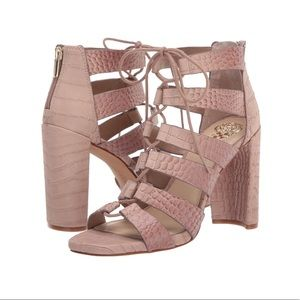 Vince Camuto Laceup Heels Pink Pastel Ankle Strap